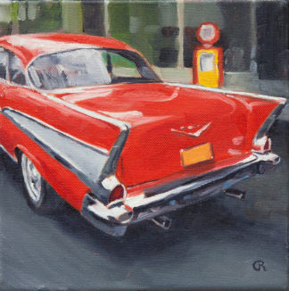 Red '57 Chevy Belair painting by Raphael Schnepf