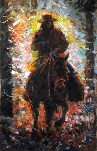 Autumn Cowboy painting by artist Jerry Blank