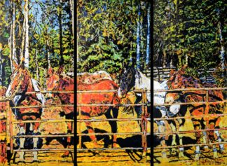 Horses of Bug Creek Road painting by artist Jerry Blank [Triptych]